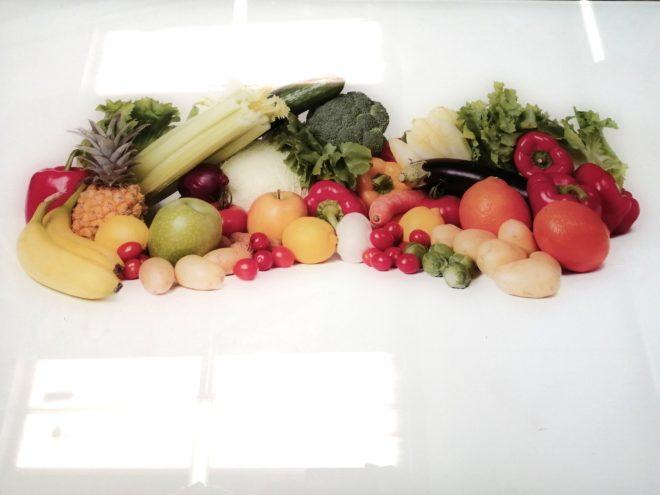 Plaque laquée fruits et légumes