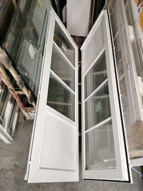 Porte-fenêtre deux vantaux en bois blanc (dormants et ouvrants)