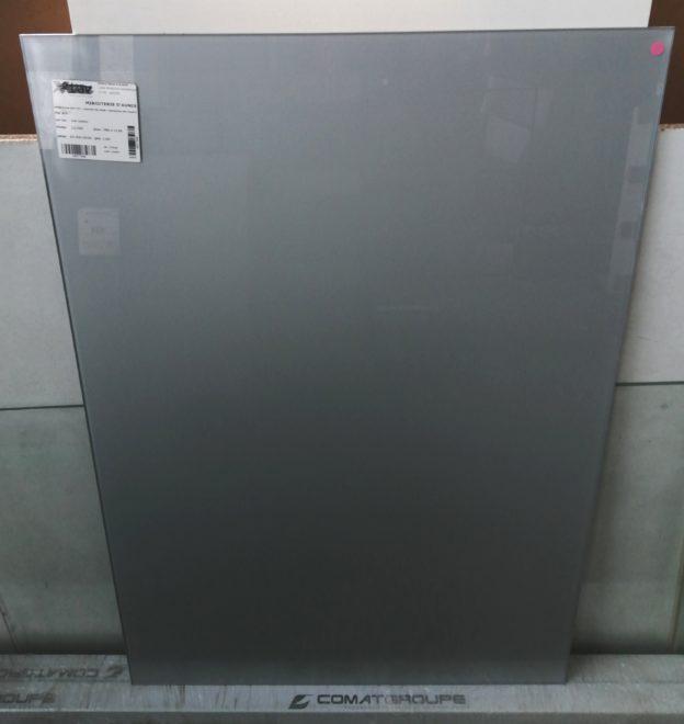 Plaque de verre extra clair 6mm jpp laqué ral 9006.