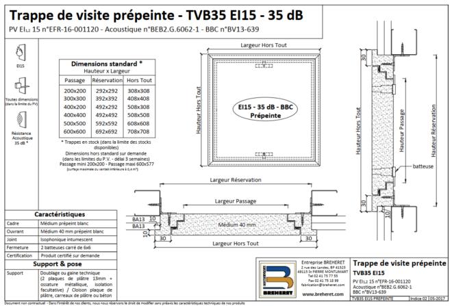 TRAPPE DE VISITE VERTICALE TVB35 EI15  prépeinte   Dim 300x300