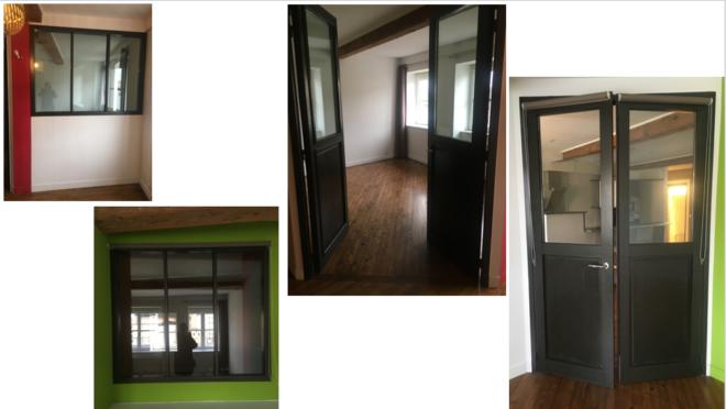 Porte vitrée, fenetres/cloison murale double vitrage interieur ou exterieur - excellent état