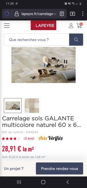 Surplus carrelage Lapeyre Galante