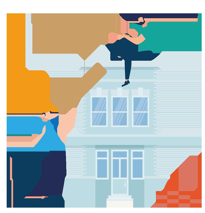 Bout de chantier - Image de deux personnes échangeant une planche pendant la construction d'une maison